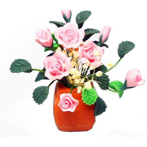 1:12 Dollhouse Miniature DIY Garden Clay Flowers Arrangement PinkRose Red Pottery Basin Plant