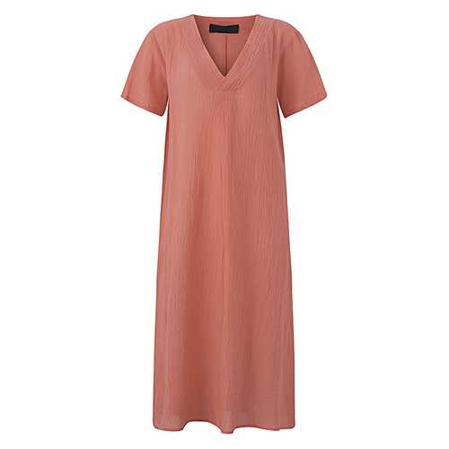 Casual Loose Pure Color V-Neck Short Sleeve Women Dress