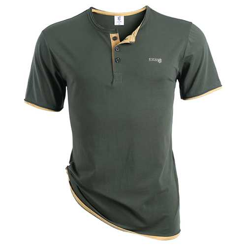 JOZSI Fashion Summer Mens Casual Lapel Short Sleeved T-shirt Slim Fit Tops Tees