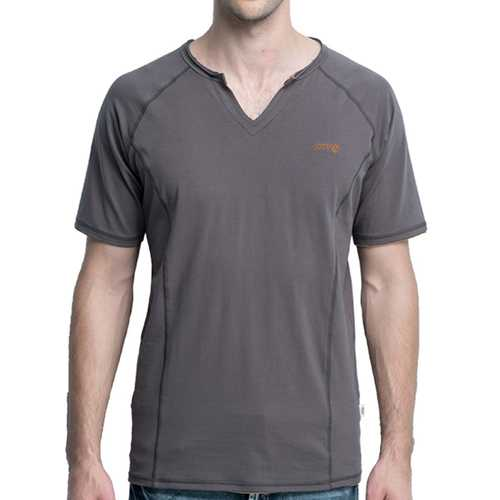 JOZSI Fashion Outdoor Short Sleeved T-shirt Men's Casual V-collar Solid Color Tops Tees