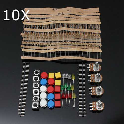 10Pcs Electronic Parts Component Resistor Switch Button Kit