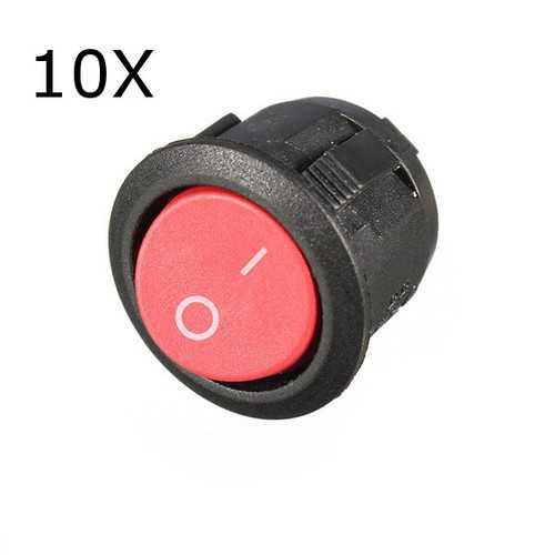 10Pcs Red Mini Round 2 Pin SPST ON-OFF Rocker Push Button Switch