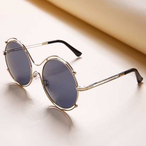 Women Mens Unisex Vintage Anti-UV Double Ring Sunglasses Retro Steampunk Round Mirror Lens Glasses