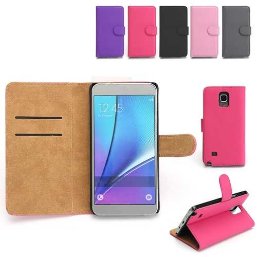 PU Leather Flip Wallet Card Slot Braceket Case For Samsung Galaxy Note 4