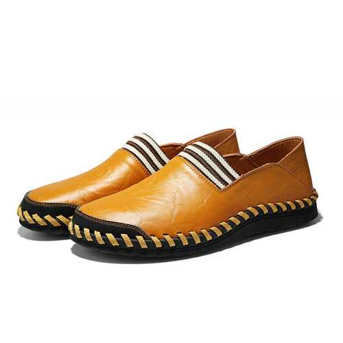 Genuine Leather Men Soft Slip On Loafers Casual Shoes