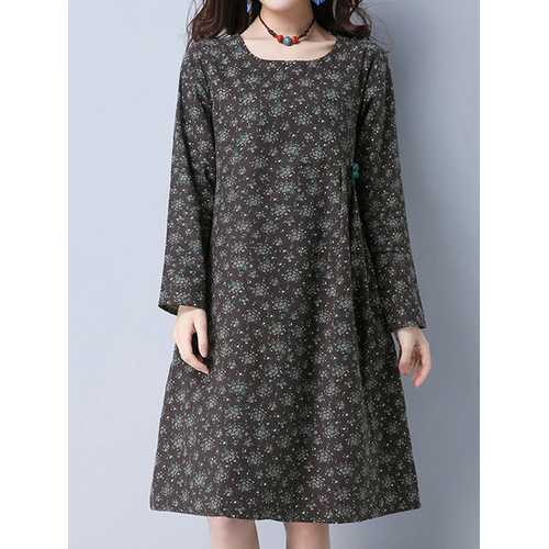 Casual Long Sleeve Printing Pockets Knee-Length Dress For Women