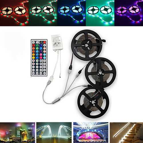 15M SMD3528 Waterproof RGB 900 LED Strip Tape Light Kit + 44 Keys Controller + Cable Connector DC12V
