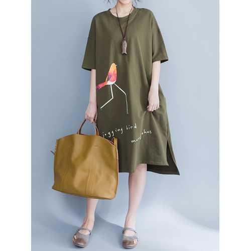 Casual Women Bird Print O-Neck Side Slit Dresses