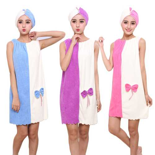Honana BX-969 Flannel Soft Absorbent Skirts Salon Bathrobe Women SPA Bath Towel With Hair Dry Cap