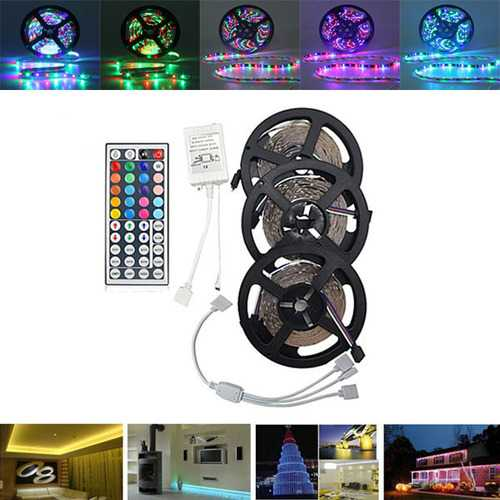 15M SMD3528 Non-Waterproof RGB 900 LED Strip Light Kit + 44 Keys Controller + Cable Connector DC12V