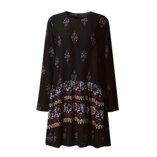 Bohemian Floral Printed Long Sleeve Women Mini Dresses