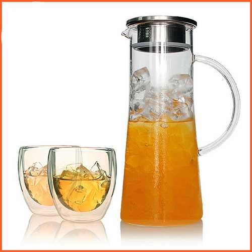 Glass Kettle Two-way Outlet Water Jug Heat Resistant Transparent Tea Pot Stainless Steel Strainer