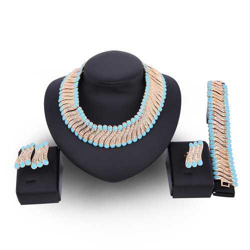 18K Gold Plated Rhinestone Necklace Earrings Bracelet Ring Jewelry Set