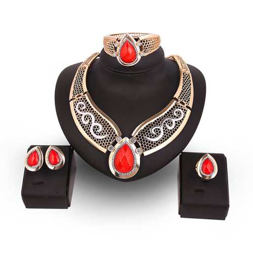 Water Drop Gold Plated Resin Necklace Earrings Ring Bracelet Jewelry Set for Women