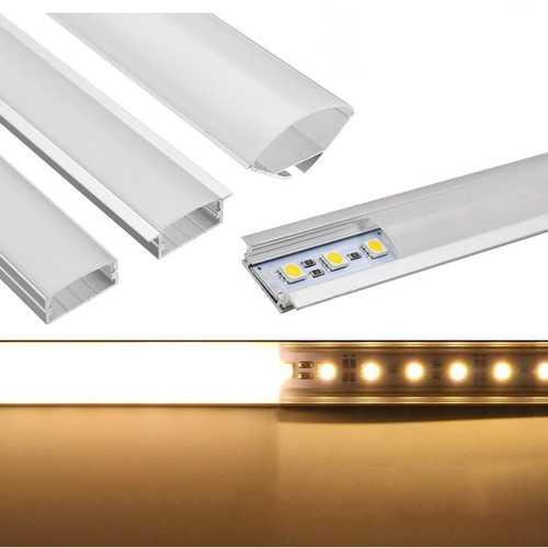 50CM U/YW/V Shape Aluminum Channel Holder For Bar Under Cabinet LED Rigid Strip Light Lamp