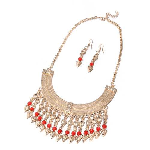 Gold Plated Vintage Jewelry Set Stylish Statement Necklace Earrings Red Beads Accessories