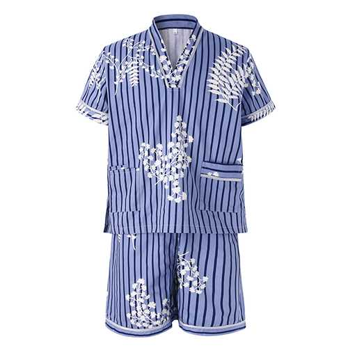 Mens Casual Cotton Khan Steamed Sauna Stripes Printing Sleepwear Suits Hotel Bath Clothes