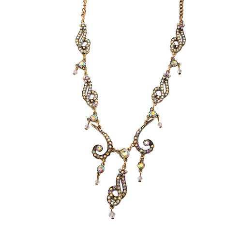 Golden Luxury Irregular Shape Statement Necklace Shining Crystal Decor Necklace for Women