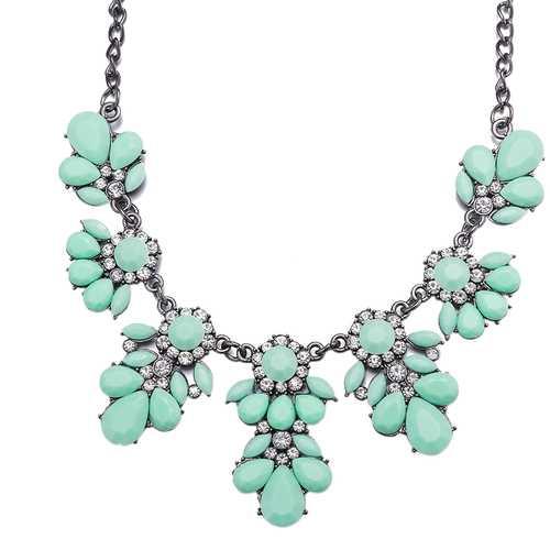 Cyan Stylish Collar Necklace Resin Drop Shape Flower Crystal Fresh Summer Item