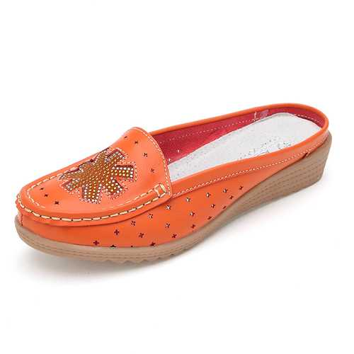 Casual Hollow Out Slip On Flat Loafers For Women