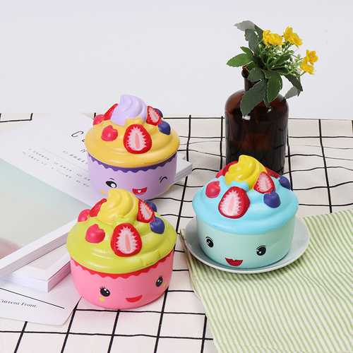 2PCS LeiLei Squishy Ice Cream Strawberry Fruit Cup Cake Slow Rising Original Packaging Gift