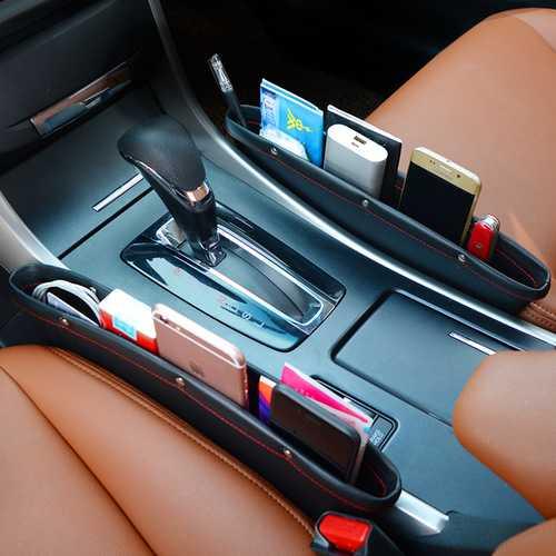 2Pcs PU Leather Car Seat Crevice Storage Gap Filler Pocket Catch Catcher Box Caddy