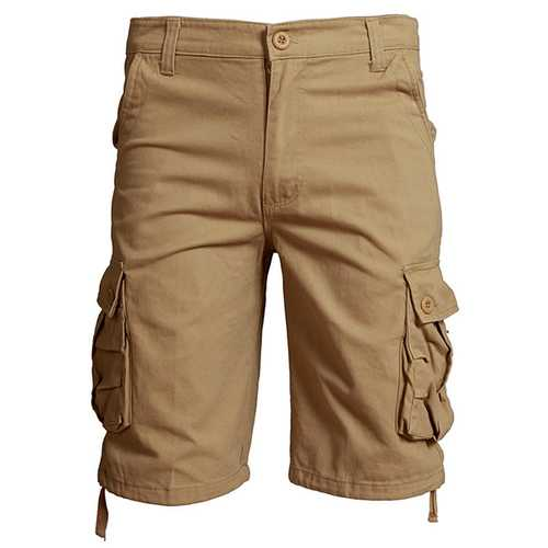 Spring Summer Mens 30-42 Casual Cotton Cargo Pants Loose Sports Outdoor Knee-length Shorts