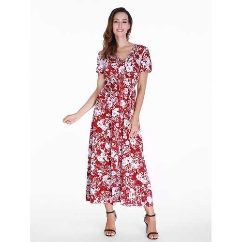 Bohemia Floral Printed Split Hem Maxi Dress