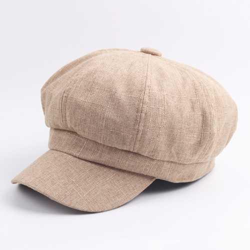 Women Ladies Vintage Octagonal Cap Soft Solid Beret Hat Newsboy Flat Hat