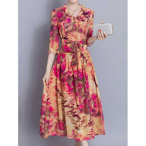 Bohemian Floral Print Chiffon Elegant Dress