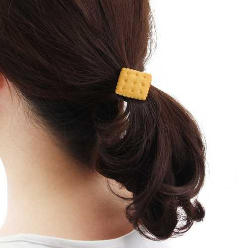 Cute Simulated Biscuit Hair Ring Band Star Heart Circular Geometric Kid's Jewelry