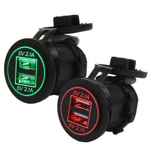 12V-24V Dual 2.1A+2.1A USB Car Cigarette Lighter Socket Power Adapter Car Charger