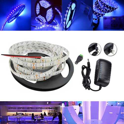 5M UV SMD2835 395-405NM Purple 300 LED Waterproof Strip Light + DC Connector + Power Supply 12V