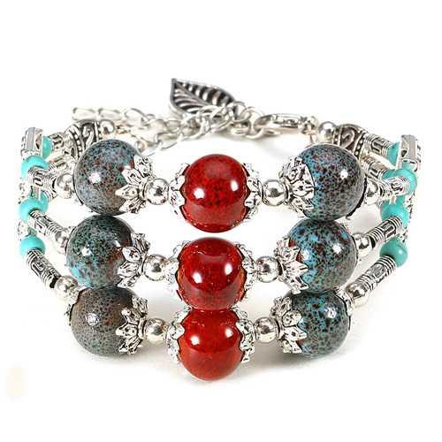 Ethnic Style Multilayer Chain Ceramic Leaves Tassel Bracelet for Women