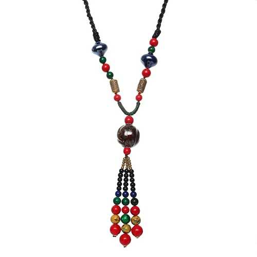 Ethnic Tassel Necklace Wooden Beads Ceramic Long Women Necklace