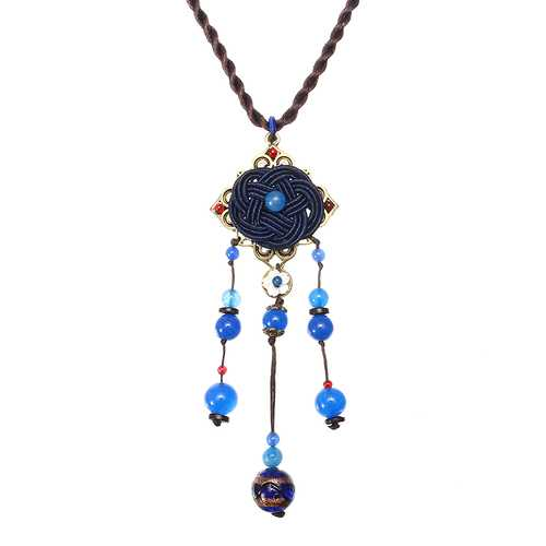 Blue Crystal Flower Necklace Ethnic Long Rope Bead Necklace for Women
