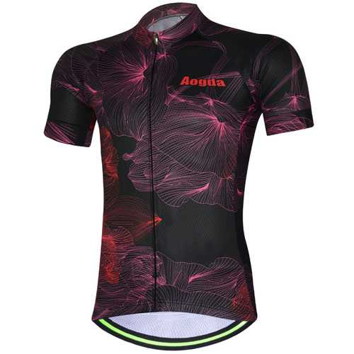 AOGDA Unisex Petal Black Short Sleeve Cycling Jersey Outdoor Sports Summer Polyester Mesh Breathable
