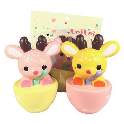 2PCS LeiLei Squishy Jumbo Teacup Deer Christmas Elk 14cm Slow Rising Original Packaging Gift Collection Toy