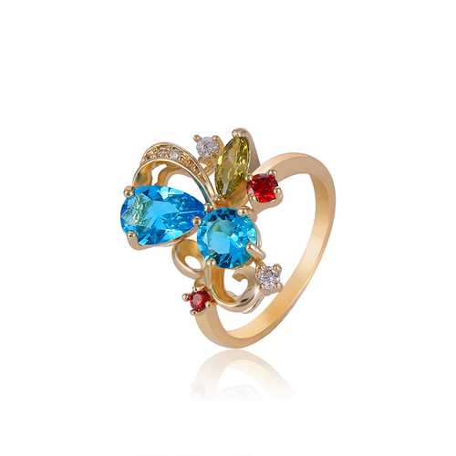Stylish Gold-Plateda€?copper Zircon Ribbon Shape Multicolor Crystal Finger Ring for Women