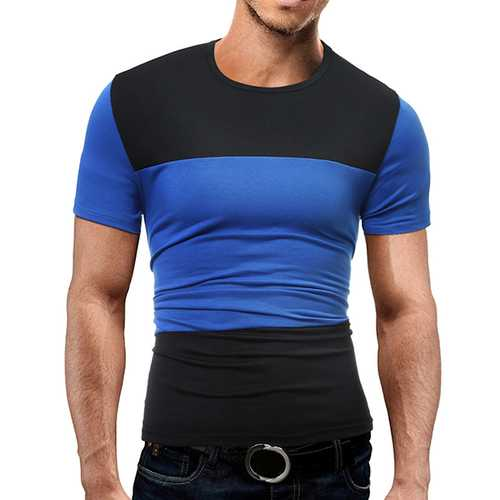 Summer Mens Causal Hit Color Stitching T-Shirts Cotton Soft Sports Shorts-sleeved T-shirt