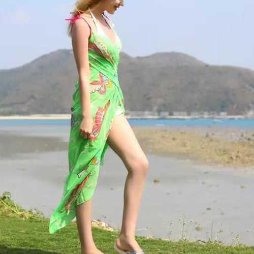 Women Lady Girls Summer Chiffon Floral Print Beach Gowns Long Sun Protaction Shawl Beach Towel