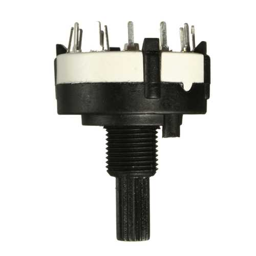 1 Pole 12 Way 0.3A 250VAC Black Rotary Switch Solder Terminals 18 Teeth Shaft