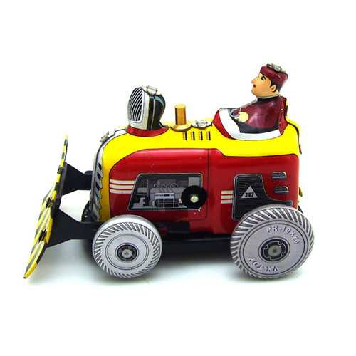 Classic Vintage Clockwork Bulldozer Nostalgic Wind Up Children Kids Tin Toys With Key