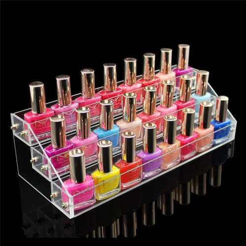 3 Tiers Clear Acrylic Nail Polish Lipstick Display Stand Holder Makeup Organizer Rack