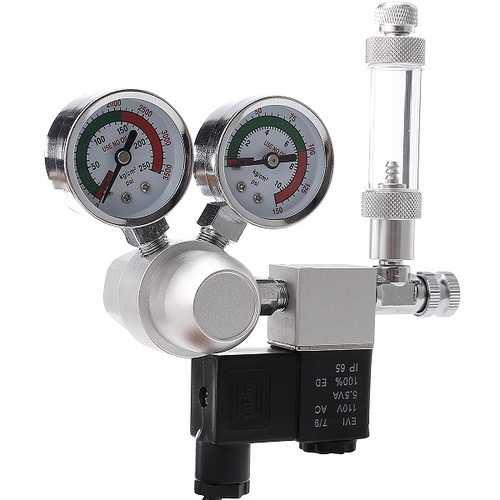 Aquarium Dual Gauge CO2 System Pressure Regulator Bubble Counter SolenoidAquarium Air Pump Counter