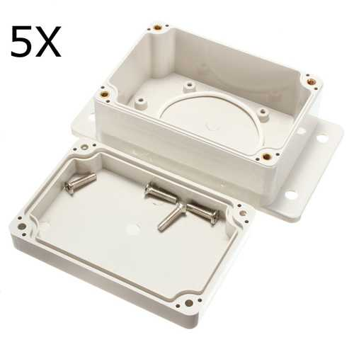 5Pcs 100x68x50mm White Plastic Waterproof Electronic Case PCB Box