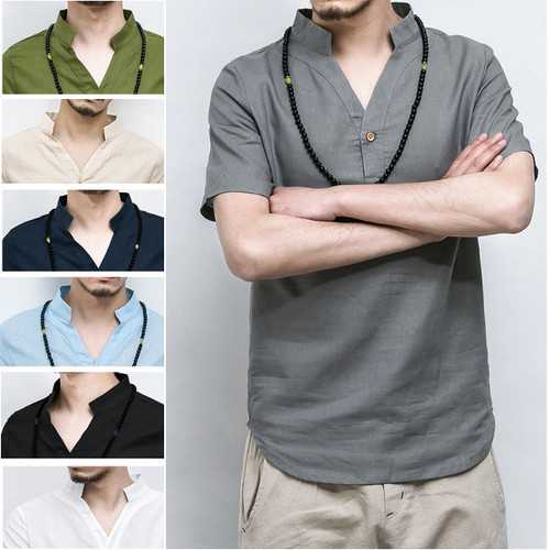 Chinese Wind Linen Long Style T-shirts Men's Stand Collar Leisure Solid Color Short Sleeve T-shirt