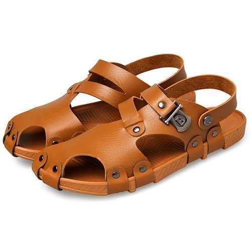 Men Beach Sandals Outdoor Summer Slip On Flat Shoes