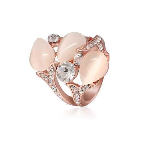Rose Gold Plated Crystal Rhinestones Flower Women Finger Rings