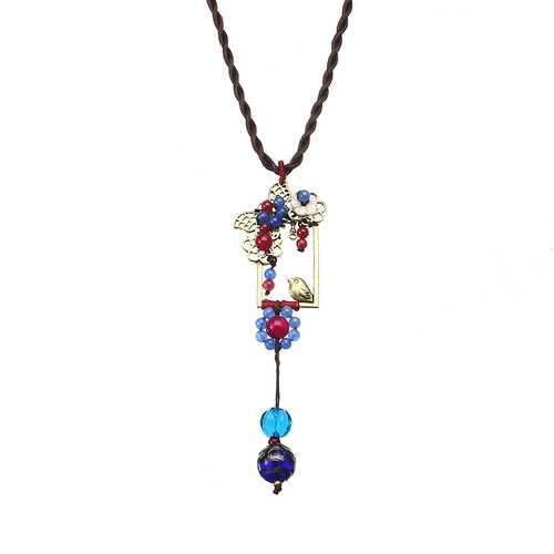 Ethnic Necklace Flower Bird Pattern Vintage Jade Pendant Rope Necklace for Women